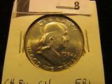 1954 D Franklin Half Dollar, CH BU 64 FBL