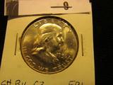 1956 P Franklin Half Dollar, CH BU 63 FBL