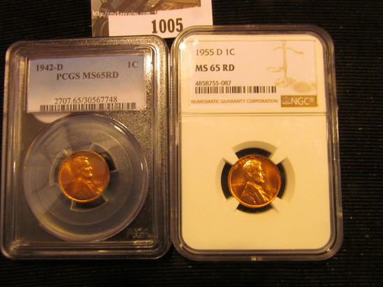 1005. 1942-D AND 1955-D WHEAT CENTS GRADED MS 65 RED