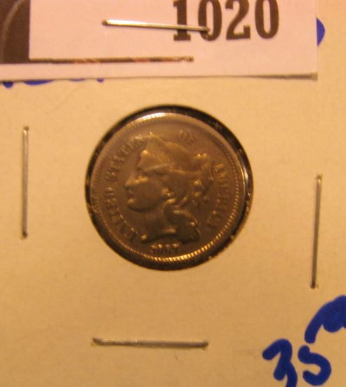 1020. 1867 THREE CENT NICKEL