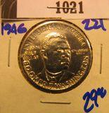 1021. 1946 BOOKER T WASHINGTON COMMEMORATIVE HALF DOLLAR