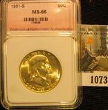 1073. 1951-S Franklin half dollar graded MS 65