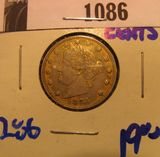 1086. 1883 Racketeer's nickel.  These nickels were painted gold and passed of as five doll