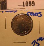 1099. 1883 No Cent, Liberty Nickel.