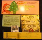 1171. Eskimo Christmas Treats Box label, near mint condition; (4) 1909 era Bearer Certific