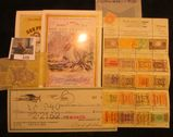 1175. 1946 Iowa City, Iowa Shaw Aircraft Cancelled Check; group of old Australia Stamps; t