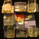 1184. (16) Different Lead Crystal Holographic 3D Paperweights all Laser Etched and in orig