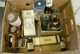 1202. Box full of Old Antique Medical Bottles & Etc. Unable to ship to some contents. Incl