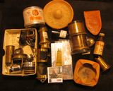 1208. Odd ball lot of Brass Microscope and Magnifying Glass Parts; Can of Jade Green