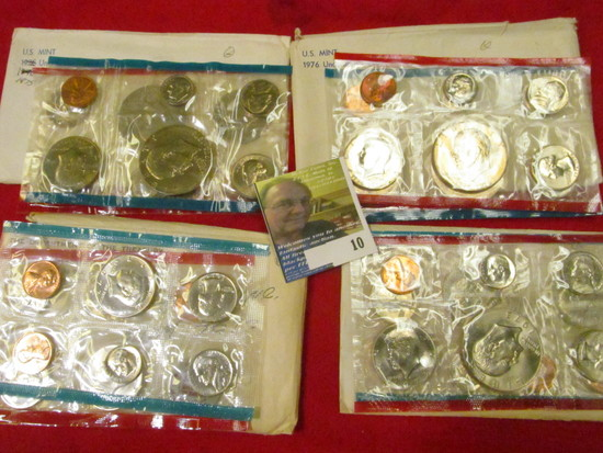 1972, 73, 75, & 76 P & D U.S. Mint Sets in original cellophane as issued. Includes six BU Eisenhower