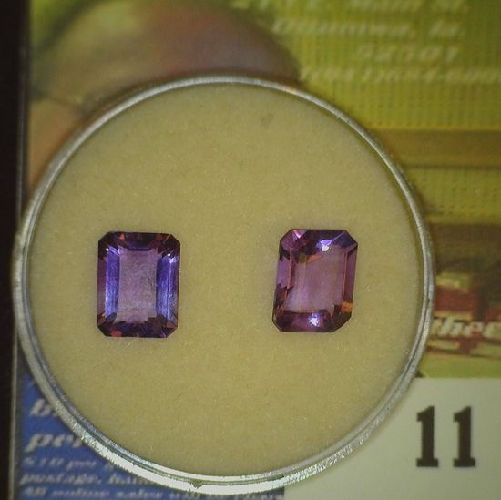 Pair of faceted rectangular cut Amethyst with a total carat weight of 3.91 carat.