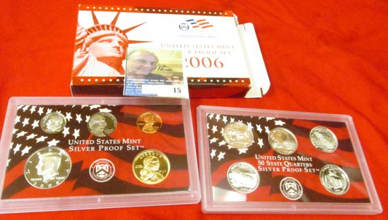 2006 S U.S. Silver Proof Set. 10 pc. In original government issued box and case.