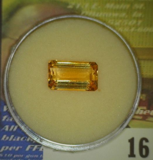 Rectangular faceted Precious Citrine Gem weighing 5.22 carats and ready to be mounted in a piece of