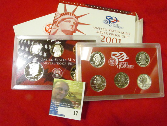 2001 S U.S. Silver Proof Set. 10 pc. In original government issued box and case.