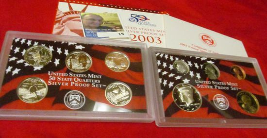 2003 S U.S. Silver Proof Set. 10 pc. In original government issued box and case.