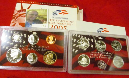 2005 S U.S. Silver Proof Set. 10 pc. In original government issued box and case.