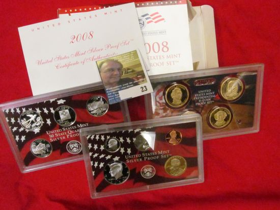 2008 S U.S. Silver Proof Set. 14 pc. In original government issued box and case.
