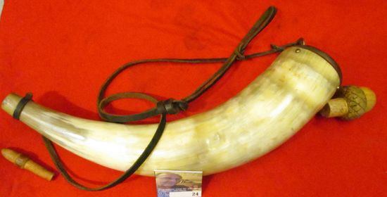 Large Black Powder Horn with Wooden Acorn and end plug, leather strap.