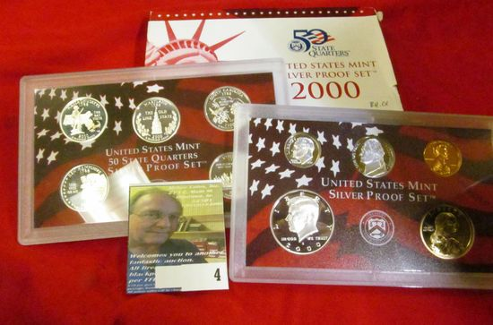 2000 S U.S. Silver Proof Set. 10 pc. In original government issued box and case.