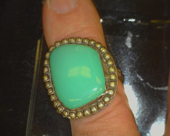 Heavy Turquoise & Sterling Silver Indian Pawn Ring.