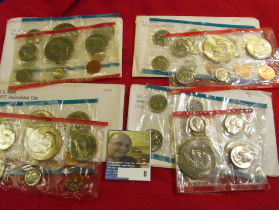 1974, (2) 75, & 77 P & D U.S. Mint Sets in original cellophane as issued. Includes eight BU Eisenhow