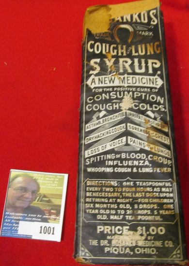"Original Bottle with damaged box of Quack Doctor Medicine. ""Dr. Bosanko Medicine Co. Piqua, Ohio"". C"