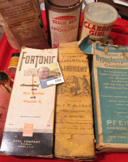 Old Quack Doctor Medicine Bottles, some with contents.  Cannot be shipped, needs to be picked up at
