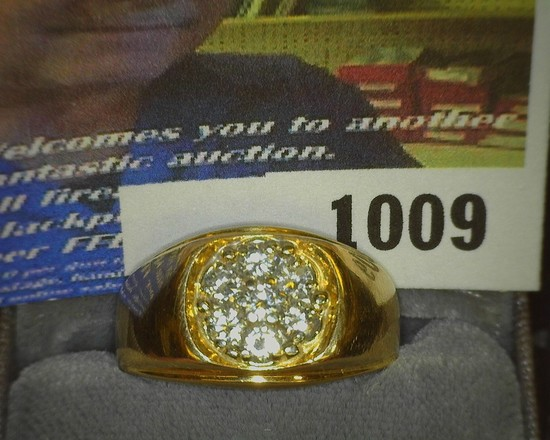Men's 14K Gold Diamond Cluster Ring, approximately size 8, weighs 10 Grams, contains seven superb Di