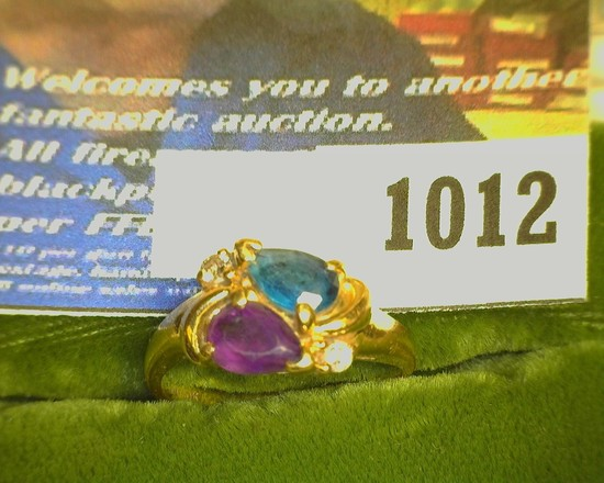Size 7 Ladies Mother's Rings, Blue Stone, amethyst, & a pair of Diamonds in 10K Yellow Gold. Weighs