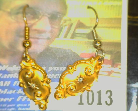 2.4 grams TW Vintage Diamond and 10K Gold Earrings. Victorian style.
