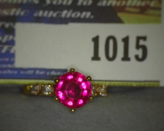 """Size 7 Ladies Red Ruby? and Diamond? 14K Gold Ring. According to note with ring, """"Pam's- Aunt Bertha"""