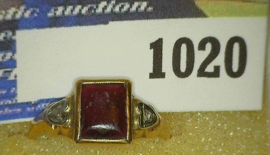 10K Yellow Gold Ring with Red Set and a pair of very small Diamonds. Needs straightened. Size 3-4. W
