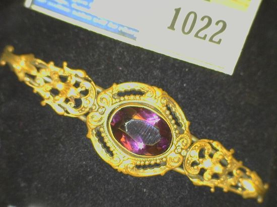 Amethyst Antique Victorian Style Broach Pin.