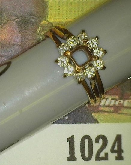Yellow Gold unmarked Size 6 Ring weighing 3.7 grams. Ready to mount a small square stone. Includes t