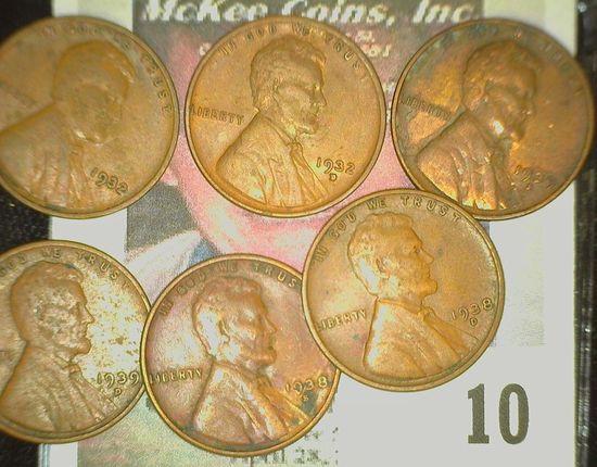 1932P, D, 33P, D, 38D, S, 39D, & S Lincoln Cents.