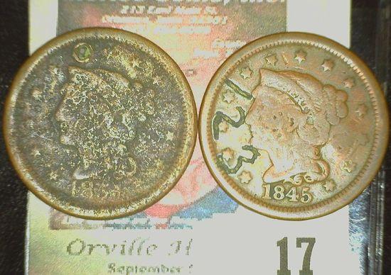 "1845 U.S. Large Cent counterstamped ""123"" & ""820""; & 1853? U.S. Large Cent, holed."
