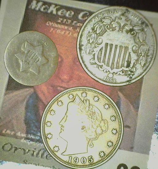 U.S. Three Cent Silver; 1868 Shield Nickel; & 1905 Liberty Nickel Fine.
