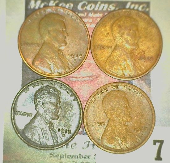 1913 S, D, 14 P, & altered 44 D Lincoln Cents. Grading Good to Fine.