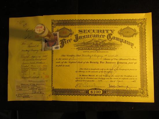 "1938 Ten Shares ""Security Fire Insurance Company Davenport, Iowa"" upper central vignette of Iowa Sea"