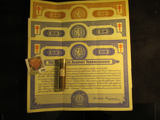 """$10, $25, & $25 """"The Crusade of the Double-Barred Cross Christmas Seal Bond(s)"""". """"The Campaign Again"""