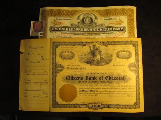 """Number 77 Stock Certificate """"Citizens Bank of Checotah Checotah, Indian Territory"""" 190_ era; & 1944"""