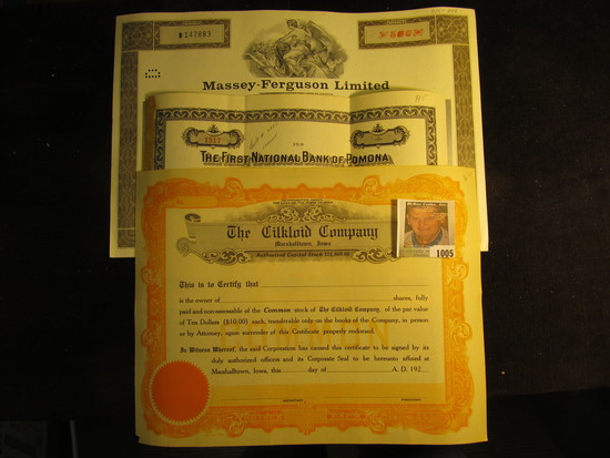 """1979 Five Hundred Shares """"Massey-Ferguson Limited"""" Stock Certificate; 1946 Stock Certificate for Two"""