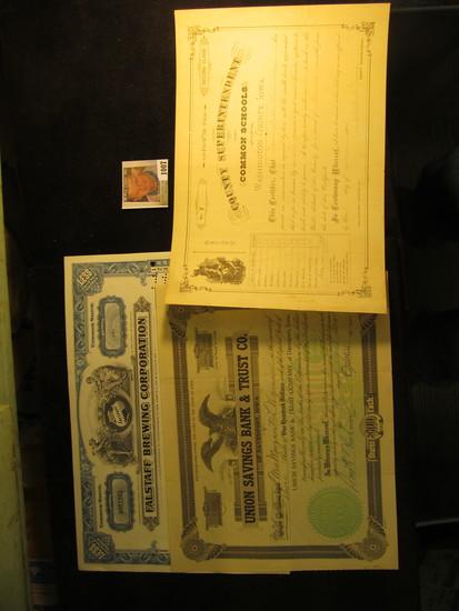 "One Share ""Fallstaff Brewing Corporation"" Stock Certificate No. No51651 dated 1967; 1886 Teacher's C"