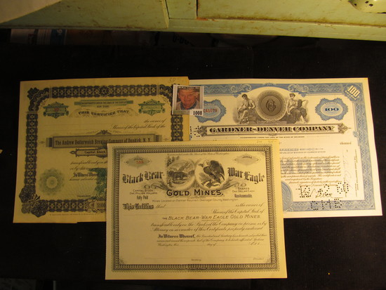 """Number 588 Stock Certificate """"Black Bear War Eagle Gold Mines, Mines located on Palmer Mountain, Oka"""