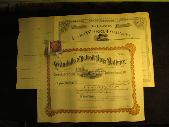"""Number 85 Stock Certificate """"Dickson Car-Wheel Company…State of Texas"""" central vignette of a Locomot"""