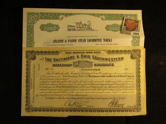 """Unissued Stock Certificate """"Atlantic & Pacific Steam Locomotive Works"""" State of Illinois; & First Mo"""