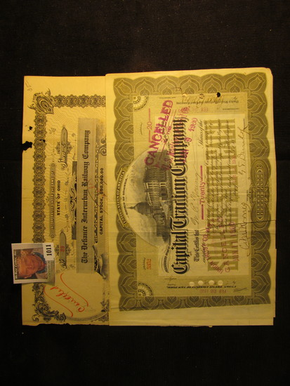 """20 Shares of """"United States of America Distric of Columbia Capital Traction Company"""", Feb. 24th, 190"""
