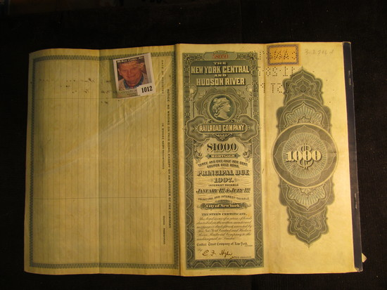 """$1000 Bond with attached coupons """"The New York Central and Hudson River Railroad Company"""" complete w"""