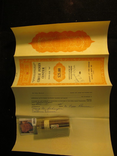 """Stamped and notarized """"Circle Pines Center $25.00 No. 48 Cloverdale, Michigan Certificate of Indebte"""