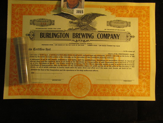"""Early Mixed date roll of Lincoln Cents & Number 113 """"Burlington Brewing Company"""" unissued Stock Cert"""
